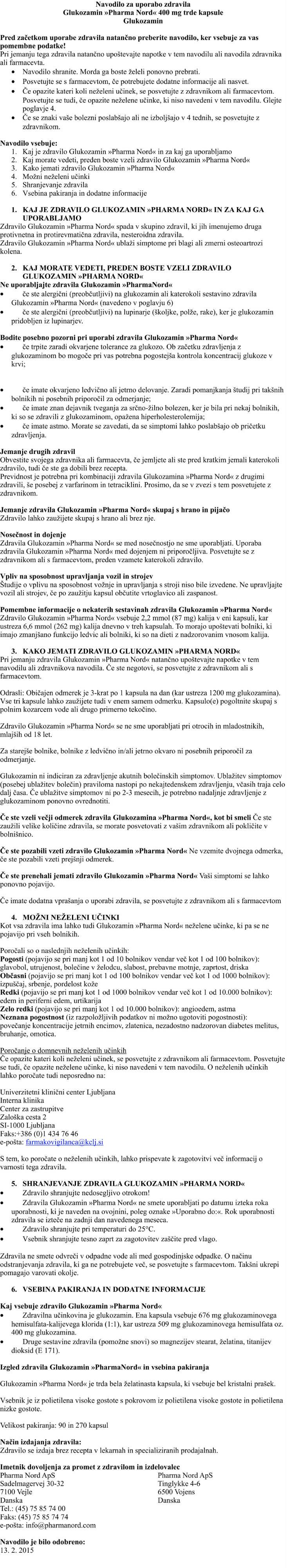 Glukozamin Pharma Nord navodila